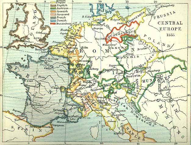 Map Of Europe 1560.Central Europe 1555