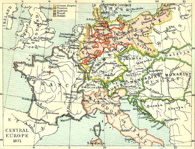 Map Of Europe In 1871.Central Europe 1871