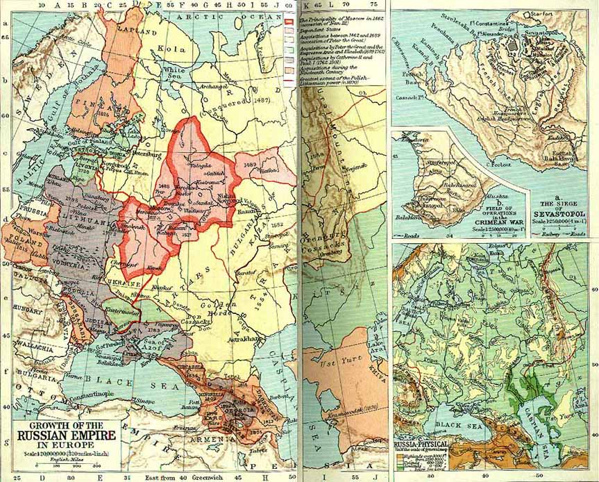 Culture 4.0 Historical Maps -- Growth of the Russian Empire in Europe