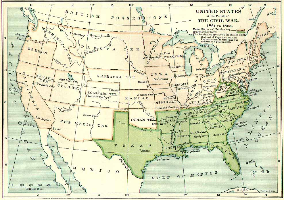 The United States During The Civil War - Us map 1861